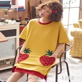 睡裙女夏短袖純棉韓版草莓口袋寬鬆大碼睡衣女夏天清新學生公主裙zh738【原創風館】
