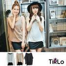洋裝-Tirlo-修飾假兩件雪紡外搭洋裝上衣-3色
