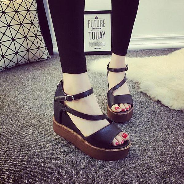 1111購物節-厚底楔形涼鞋女夏魚嘴厚底高跟鏤空休閒露趾鞋子
