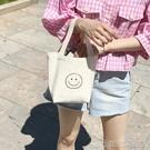 便當包丨韓國新款帆布包小巧可愛笑臉手拎手提包環保便當午餐包親子包-NNJ 【618特惠】