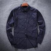 長袖襯衫-簡約復古幾何線條男上衣2色72am23[巴黎精品]