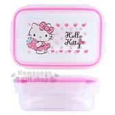 〔小禮堂〕Hello Kitty 方形四面扣透明保鮮盒《粉邊草莓》480ml 餐盒便當盒8809625 99225