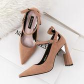 韓版尖頭高跟鞋 一字帶淺口粗跟鞋 職業OL工作鞋《小師妹》sm1385