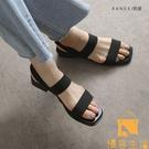 涼鞋夏季女仙女風小眾粗跟高跟百搭中跟鞋【慢客生活】