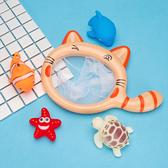 寶寶洗澡玩具漂浮撈魚兒童嬰兒戲水軟膠網撈玩水捏捏叫套裝男女孩