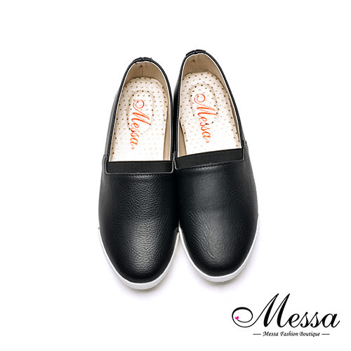 【Messa米莎專櫃女鞋】MIT質感素面休閒便鞋-黑色