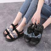 楔型厚底涼鞋 夏季新款百搭蝴蝶結平底舒適羅馬鞋大碼女鞋時尚《小師妹》sm2377