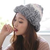 針織毛帽-時尚潮流保暖舒適女毛線帽5色73ie68[時尚巴黎]