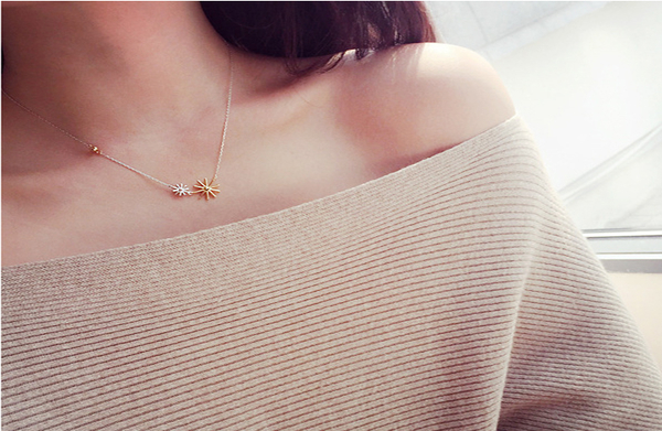 太陽的後裔 雙色太陽花項鍊 韓劇 宋慧喬 雪花造型 鑲鑽項鍊 同款 哪裡買 水鑽 韓國戲劇 4091