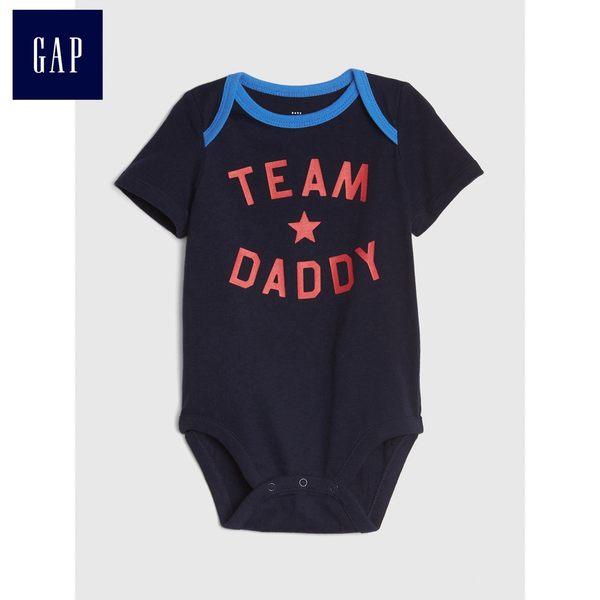 Gap男嬰兒 妙趣圖案柔軟短袖包屁衣 441275-海軍藍色