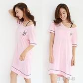 2018新品韓版時尚寬鬆甜美可愛少女睡衣夏莫代爾棉針織睡裙家居服 蓓娜衣都