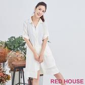 【RED HOUSE 蕾赫斯】素色長版雪紡襯衫(杏色)