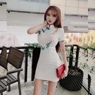 旗袍 主播服裝女夏季新款復古短袖刺繡收腰包臀改良式旗袍連衣裙潮