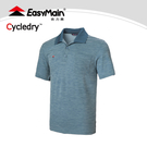 【EasyMain 衣力美 男 排汗短袖POLO衫《灰藍》】SE19007/吸濕排汗/透氣休閒服/運動Polo衫