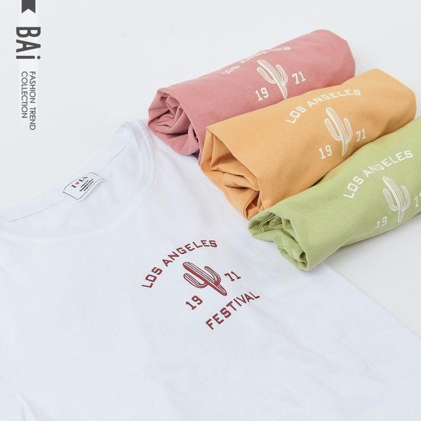 T恤 1971仙人掌英字印圖圓領上衣-BAi白媽媽【190535】