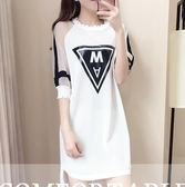 夏季女裝t恤裙中長款裙子休閒寬鬆條紋直筒連衣裙 GB4288『MG大尺碼』