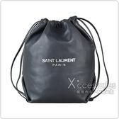 YSL Saint Laurent銀字LOGO羔羊皮束口肩背水桶包(灰)