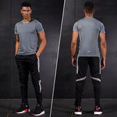 跑步運動套裝男士透氣速干衣夏季短袖長褲薄款夏天戶外健身房服裝