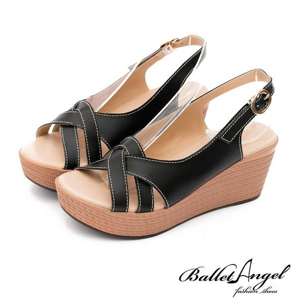 楔型涼鞋 夏日微風美型真皮楔型涼鞋(黑)*BalletAngel【18-766bk】【現貨】