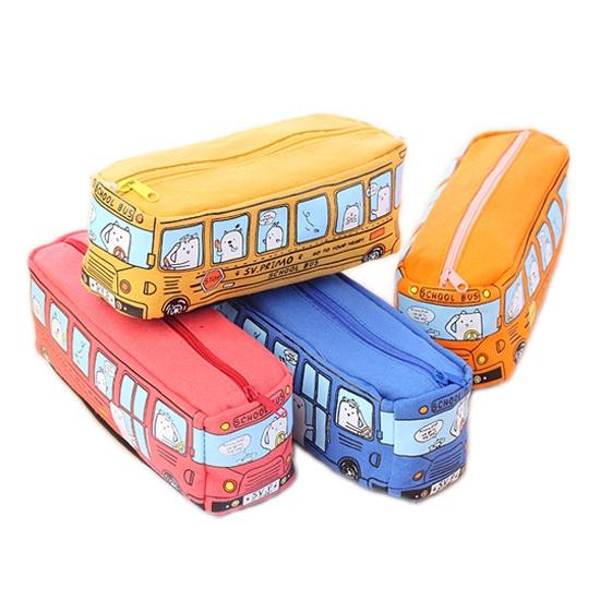 卡通巴士筆袋 韓國 創意文具  鉛筆盒 帆布 學生用品  鉛筆袋  收納 【P530】慢思行