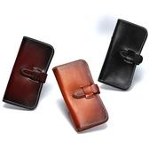真皮皮夾(長夾)-時尚抽帶款精選大容量男錢包4色73qs32[時尚巴黎]