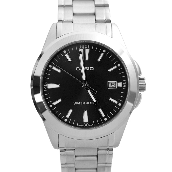 CASIO手錶 黑面格調日期窗刻度鋼錶NECE43