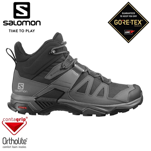 【SALOMON 法國 男 X ULTRA 4 GTX 中筒登山鞋《黑/灰/珍珠藍》】412946/休閒鞋/登山