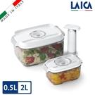 LAICA 萊卡 義大利進口 真空保鮮盒2入(附手抽幫浦)(0.5L 2L) VT33020