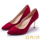 ORIN 簡約時尚名媛 嚴選羊絨經典素面高跟鞋-紅色