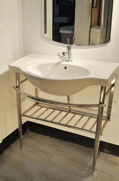 【麗室衛浴】殺很大 國產優質臉盆 81cm+不鏽鋼鐵架 可放置毛巾物品 優惠組合