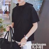 連帽T恤日系夏季超薄帶帽短袖t恤男士韓版復古風寬鬆連帽套頭衫中袖上衣 非凡小鋪