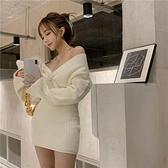 長袖洋裝 針織毛衣連身裙女秋冬黑色長袖性感v領短裙新款內搭打底裙子-Ballet朵朵
