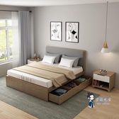 收納床 北歐高箱儲物床1.5米現代簡約風格收納床抽屜床小戶型主臥板式床T