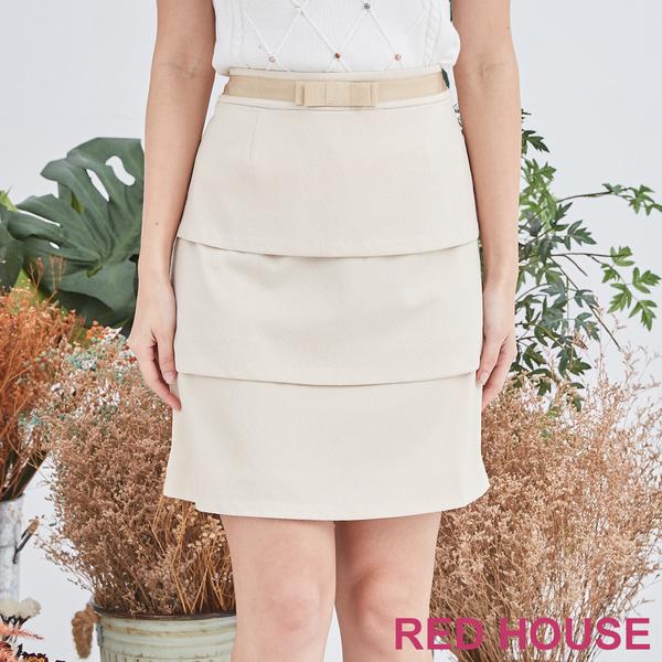 RED HOUSE-蕾赫斯-素色蝴蝶結蛋糕裙(米黃色)