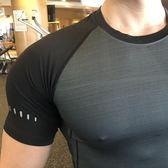 全館83折型動健身運動緊身短袖吸汗訓練速干圓領T恤高彈透氣健身服上衣夏