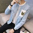 飛行夾克 休閒外套  撞色男生韓版修身純色
