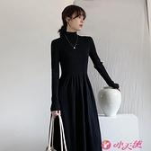 高領洋裝 黑色半高領長袖針織連身裙女2021新款秋冬內搭打底中長款毛衣長裙 小天使