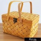 花籃 純手工編織木片野餐籃熟食包裝盒水果面包干果特產年貨高檔禮品盒 道禾