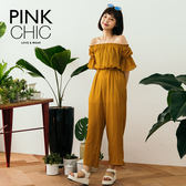 連身褲 菱形花露肩平口一字領韓版連身長褲 - PINK CHIC - 77605