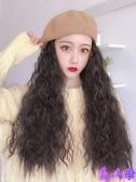 假髮 帽子一體時尚冬天貝雷帽羊毛卷假髮女長髮網紅自然女長卷髮【美人季】