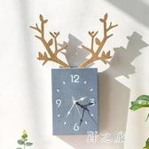 掛鐘 客廳北歐簡約時鐘電子鐘掛墻家用鐘飾創意鹿頭掛表餐廳裝飾鐘 KV5665 【野之旅】