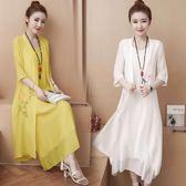 棉麻兩件套女民族風女裝夏裝新款印花短袖外披背心連衣裙套裝