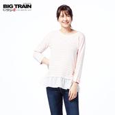 Big Train 條紋荷葉擺女款-粉紅-B2513310