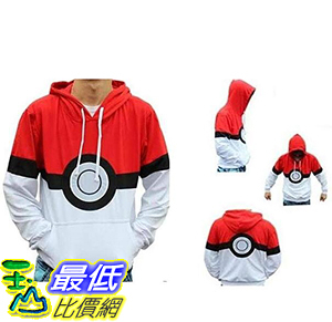 [9美國直購]  神奇寶貝 精靈寶可夢周邊  Unisex Pokemon Pokeball Hoodie Cosplay Outfit Sweatshirt