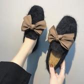 豆豆鞋 正韓加絨刷毛刷毛豆豆鞋女蝴蝶結休閒百搭平底毛毛鞋女 鉅惠85折