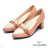【CUMAR】復古典雅-拼色鉚釘尖頭粗跟樂福鞋(罌粟紅)