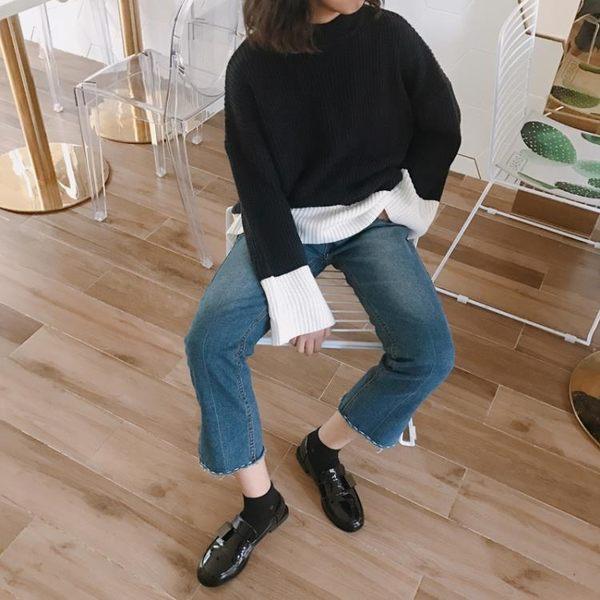 韓版百搭純色圓頭小皮鞋套腳復古chic英倫風粗跟樂福單鞋   『歐韓流行館』