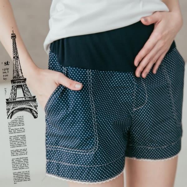*桐心媽咪.孕婦裝*【CV7025】點點口袋造型孕婦短褲-寶藍