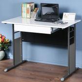 Homelike 巧思辦公桌-亮面烤漆100cm(附抽屜)桌面:白/桌腳:白/飾板:白