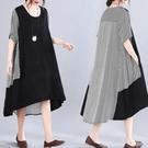 洋裝 中大尺碼女裝 2021年夏裝新款復古文藝寬鬆顯瘦大碼胖妹妹中長款圓領連身裙